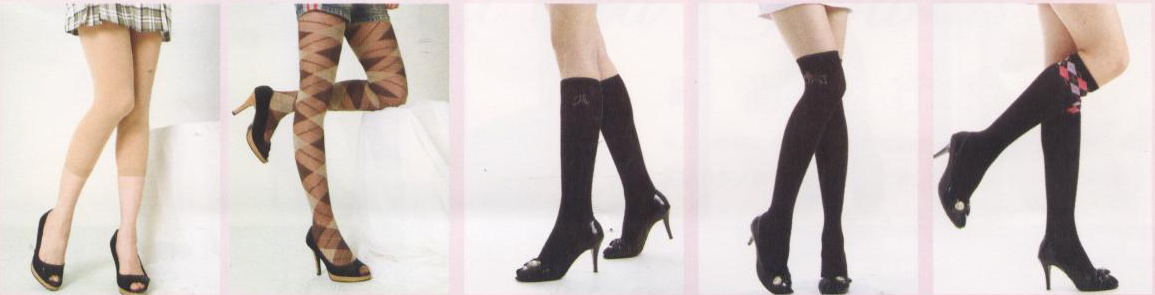 check style tights knee high and footless stocking