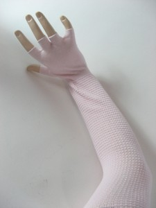 pink arm sleeve with fingerless glove with nonslippy sole